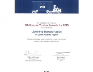 Zim 2015 House Trucker Award for South Atlantic Region